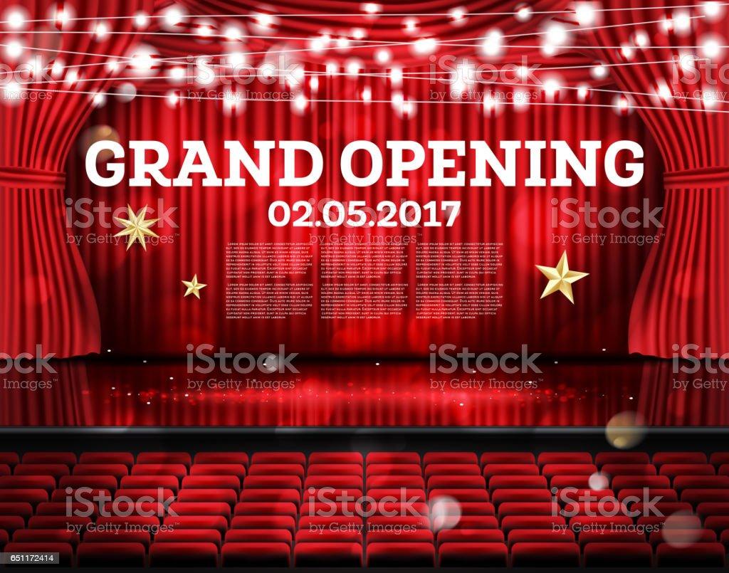 feestelijke opening rode gordijnen open met neon verlichting royalty free feestelijke opening rode gordijnen