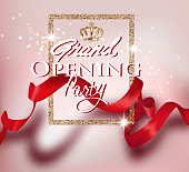Grand opening party card with long red ribbon with shadow and gold frame. Vector illustration