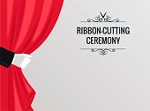 Grand opening poster with white glove and red curtains. Vector illustration