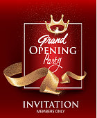 Grand opening red card with gold sparkling ribbons. Vector illustration