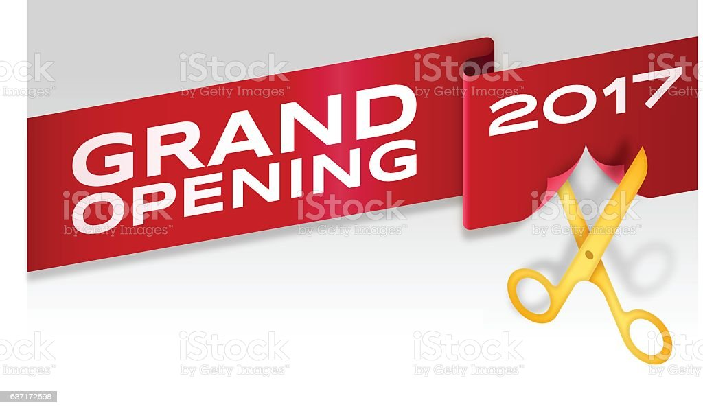 Grand Opening Ribbon Cutting Banner Store Opening vector art illustration