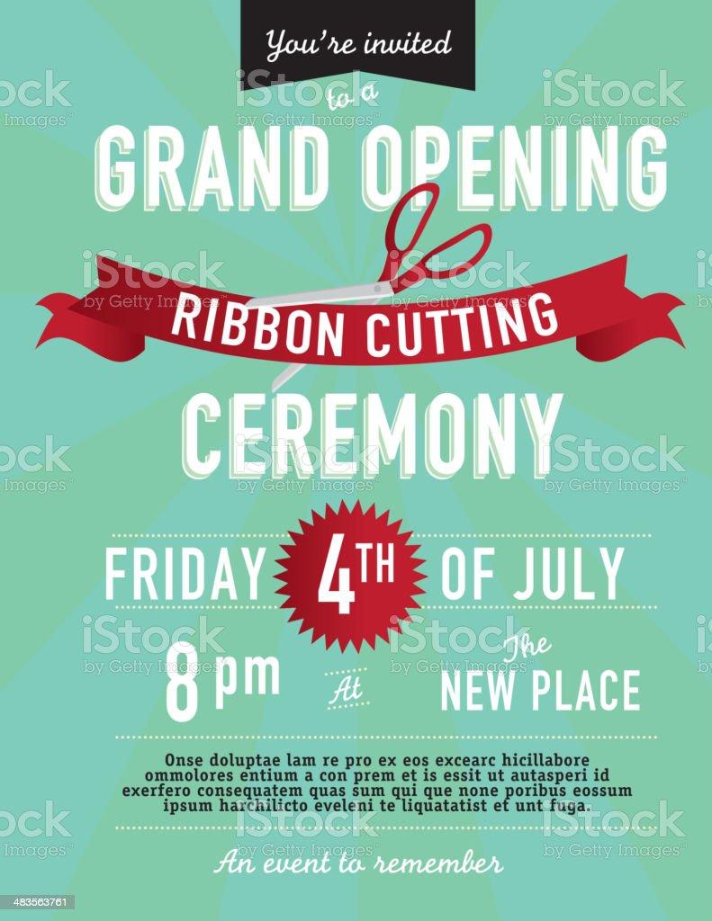Grand opening Ribbon cutting invitation design template vector art illustration