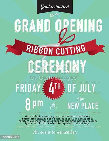 Grand Opening Ribbon Cutting Invitation Design Template
