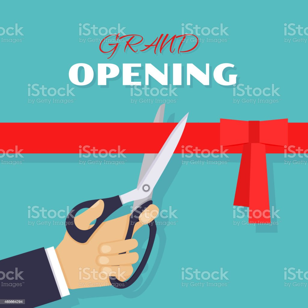 Grand opening. Scissors cut red ribbon vector art illustration