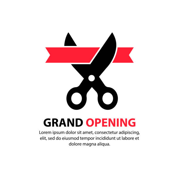 Grand opening. Scissors cut the red ribbon. Inauguration icon. Concept of invite congratulation for client of restaurant or cafe. Vector on isolated white background. EPS 10. Grand opening. Scissors cut the red ribbon. Inauguration icon. Concept of invite congratulation for client of restaurant or cafe. Vector on isolated white background. EPS 10 inauguration stock illustrations
