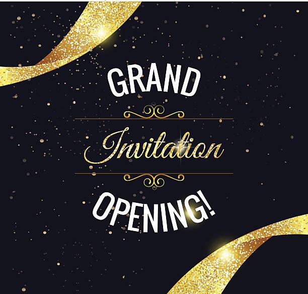 Grand opening sparkling banner vector art illustration