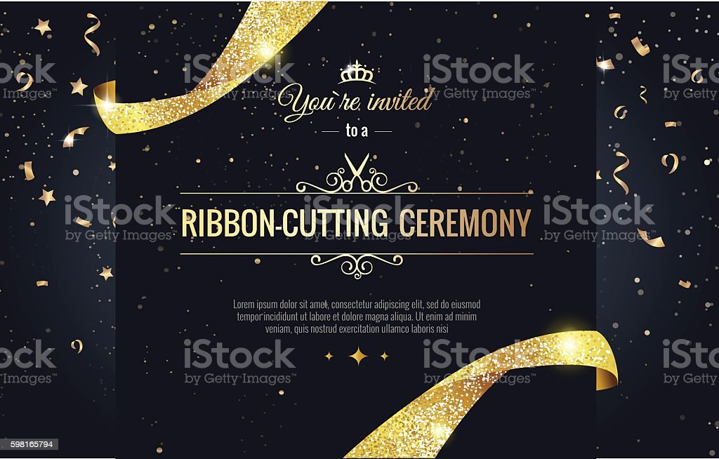 Grand opening sparkling banner vector art illustration
