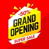 Grand Opening Super Sale banner. Vector illustration with transparent effect, eps10.