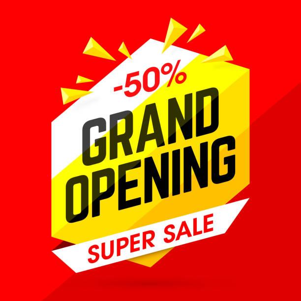 Grand Opening Super Sale banner vector art illustration