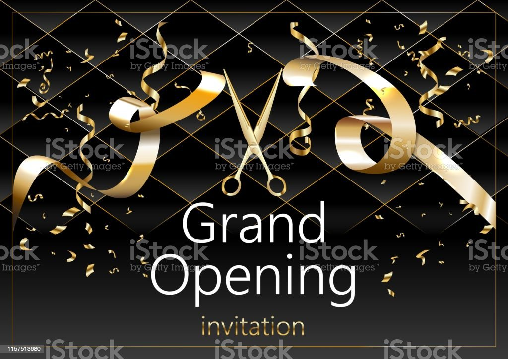 Grand opening vector background. Scissors cutting red ribbon design...
