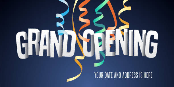 Grand opening vector background with paper letters vector art illustration