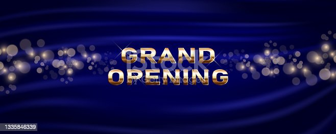 istock Grand opening vector banner. Festive template for opening ceremony 1335846339