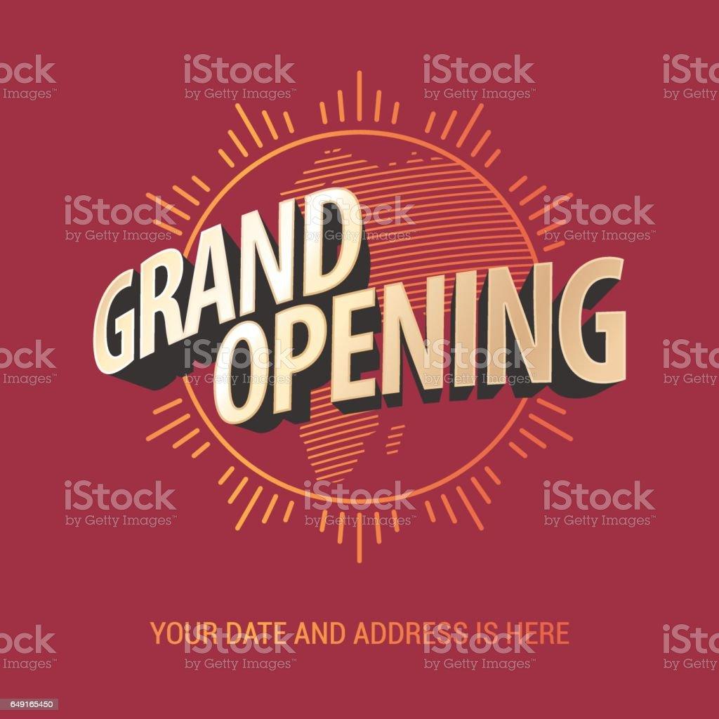 Grand opening vector banner vector art illustration