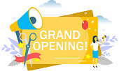 Grand opening, woman speaking through megaphone. Vector flat illustration for web banner, website page etc.