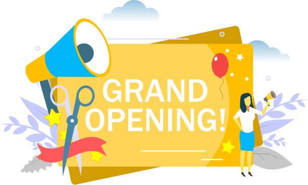 ilustraciones, imágenes clip art, dibujos animados e iconos de stock de gran apertura, vector de ilustración de diseño de estilo plano - gran inauguración