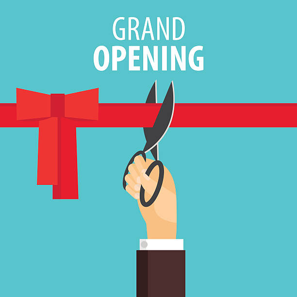 Grand opening Grand opening card with hand cutting red ribbon and text. Inauguration concept. Vector flat design in modern colors. inauguration stock illustrations