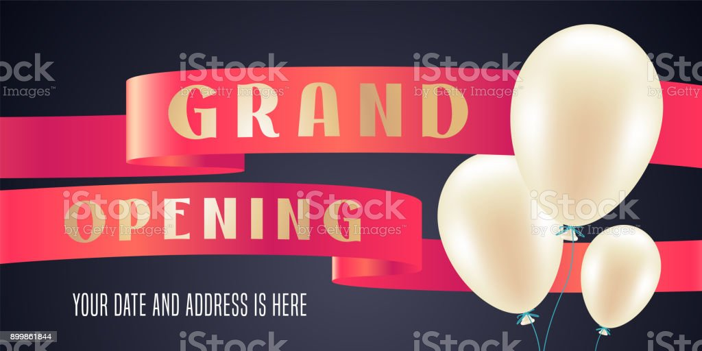 Grand opening vector illustration, background for new store with balloons vector art illustration