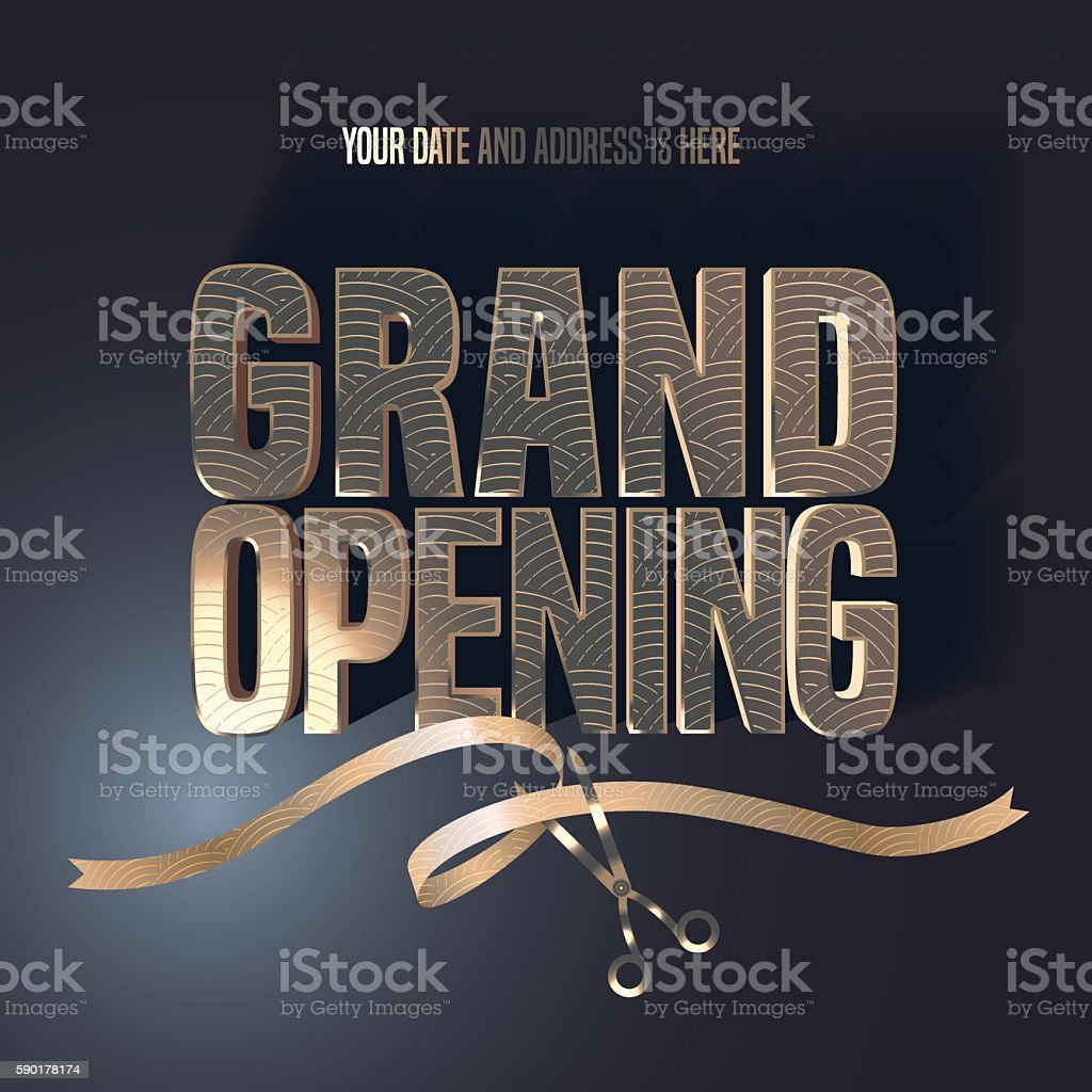 Grand opening vector illustration, background with golden lettering sign - Illustration vectorielle