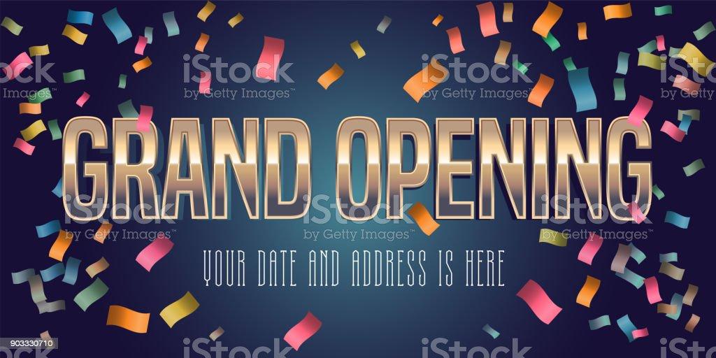 Grand opening vector illustration, background with golden lettering sign vector art illustration