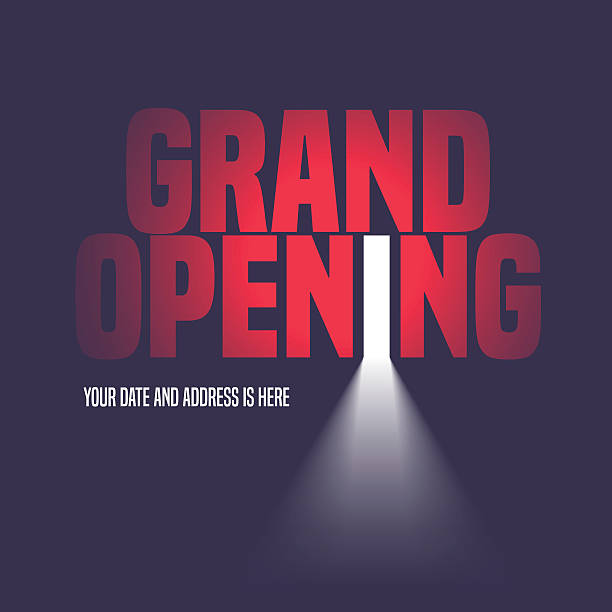 Grand opening vector illustration, background with open door Grand opening vector illustration, background with open door, light and lettering sign. Template banner, flyer, design element, decoration for opening event door stock illustrations