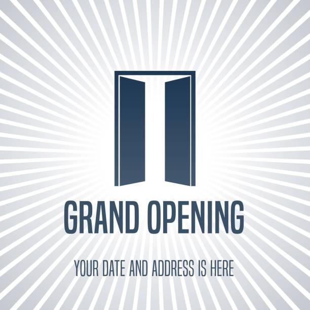 Inauguration de l'illustration vectorielle, fond avec porte ouverte - Illustration vectorielle