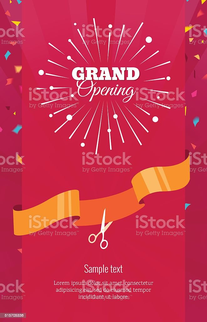 Grand opening vertical banner. vector art illustration