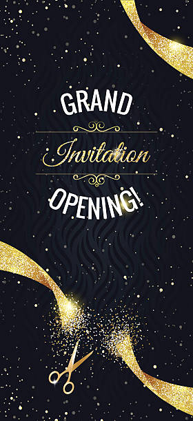 Grand opening vertical banner with  confetti, golden sparkles vector art illustration