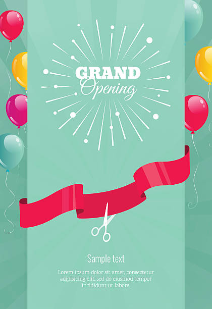 Grand opening vertical banner with  firework, balloons and ribbo vector art illustration
