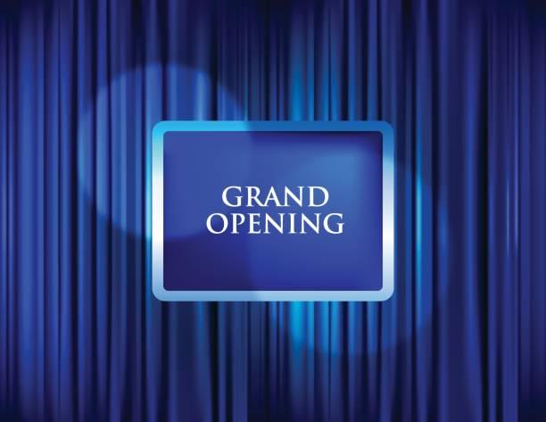 ilustraciones, imágenes clip art, dibujos animados e iconos de stock de gran apertura con cortina azul de fondo - gran inauguración