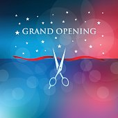 Vector of grand opening and ribbon cutting with red and blue color defocused background. This illustration is an EPS 10 file and gradient mesh with contains transparency effects.