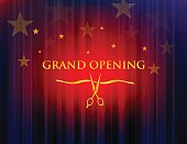 Vector of grand opening with red curtain background. This illustration is an EPS 10 file and gradient mesh with contains transparency effects.