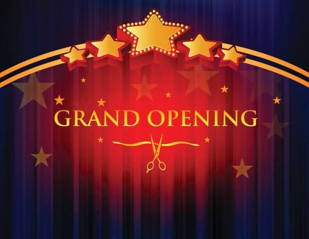 ilustraciones, imágenes clip art, dibujos animados e iconos de stock de gran apertura con la cortina roja de fondo - gran inauguración