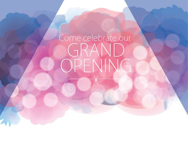 ilustraciones, imágenes clip art, dibujos animados e iconos de stock de gran apertura con fondo texturado acuarela - gran inauguración