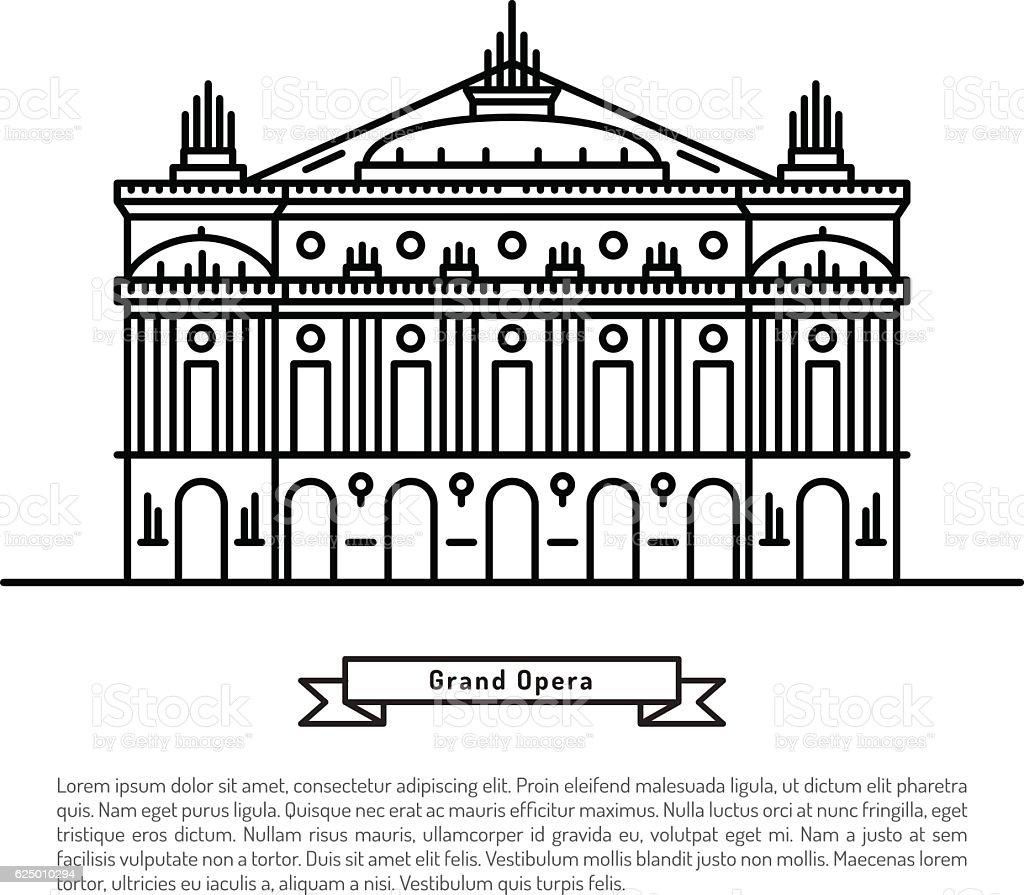 Grand Opera building vector art illustration