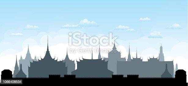 Grand Palace and Wat Pho in Bangkok, Thailand.