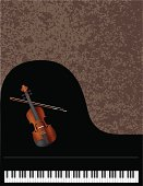 Grand Piano and Violin with Background Vector Illustration