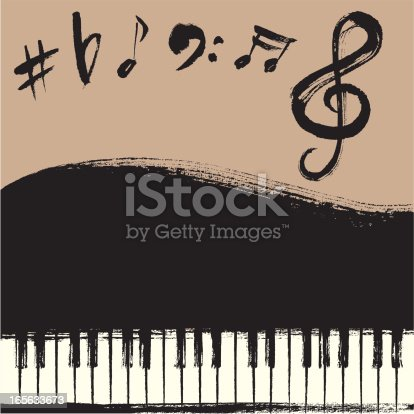 Hand-drawn style Piano and musical symbols.