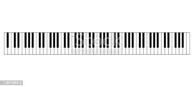 Grand piano keyboard layout with 88 keys. 52 white and 36 black keys, 7 full octaves. Set of levers on a musical instrument for playing the twelve notes of Western musical scale. Illustration. Vector.