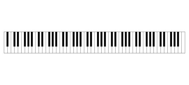 Grand piano keyboard layout vector art illustration