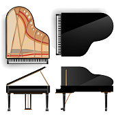 Grand Piano Set Vector. Realistic Black Grand Piano Top And Back View. Opened And Closed. Isolated Illustration. Musical Instrument