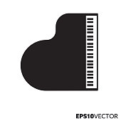 Grand piano solid black icon. Glyph symbol of key instruments and music. Musical instrument flat vector illustration.