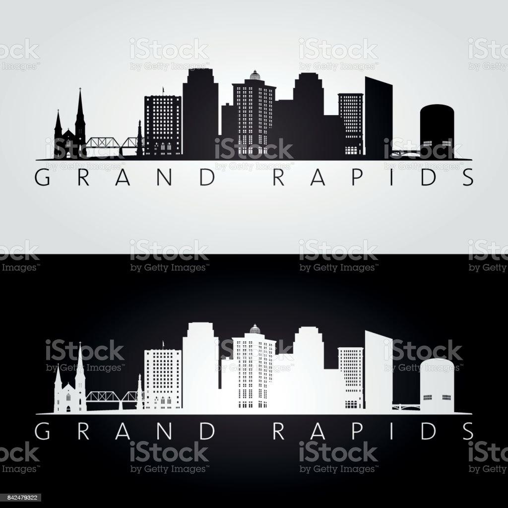 Grand Rapids USA skyline and landmarks silhouette, black and white design, vector illustration. vector art illustration