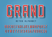 Grand trendy retro display font design, alphabet, typeface, letters and numbers, typography.