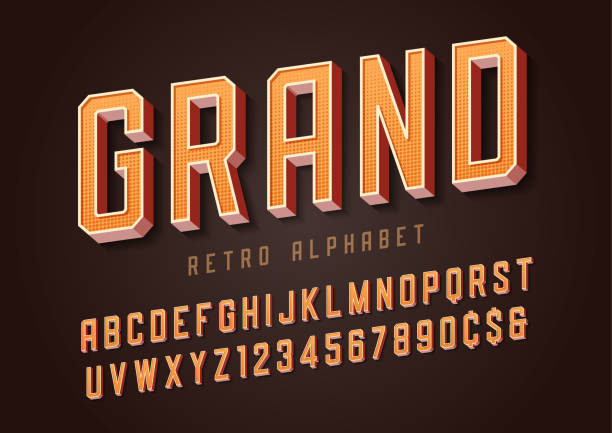 Grand trendy retro display font design, alphabet, typeface, letters and numbers, typography. Grand trendy retro display font design, alphabet, typeface, letters and numbers, typography. Swatch color control. pin up girl stock illustrations