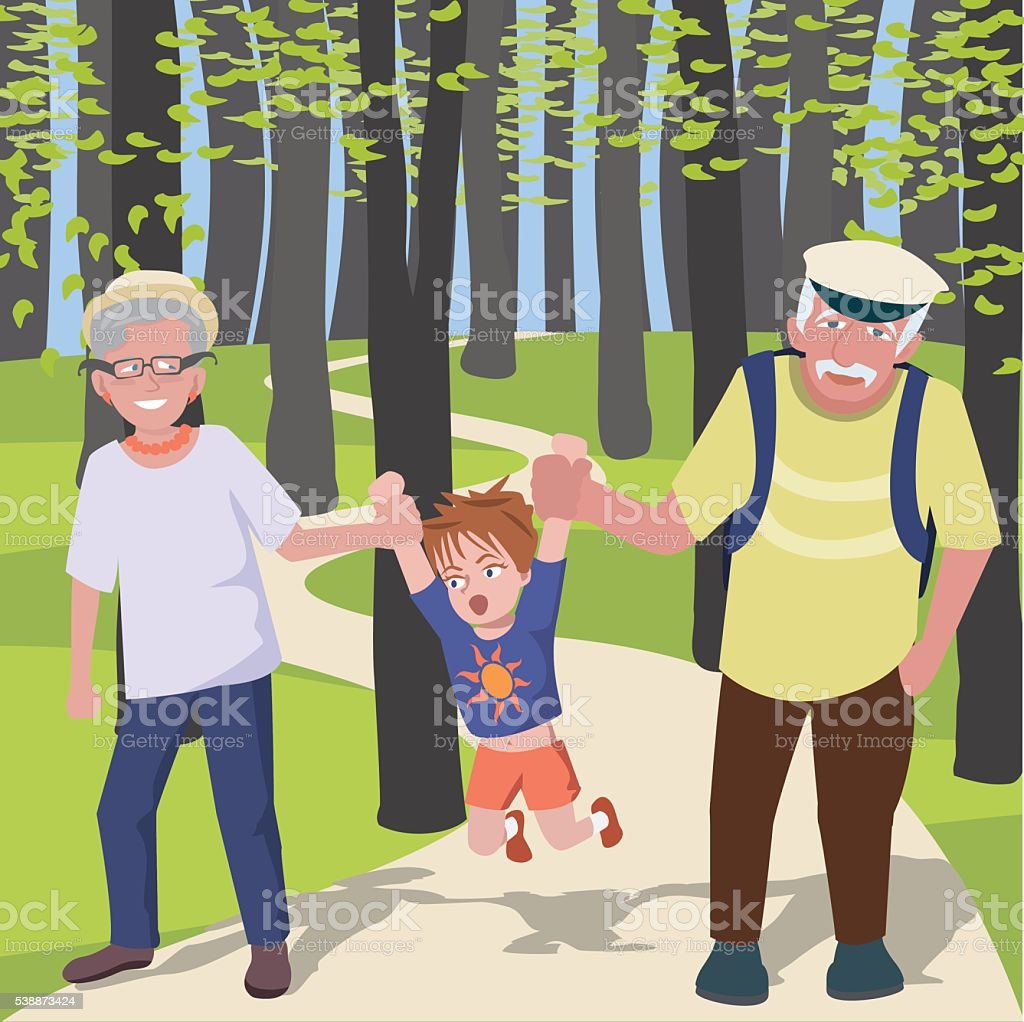 grandchild with grantparents walking at park vector art illustration