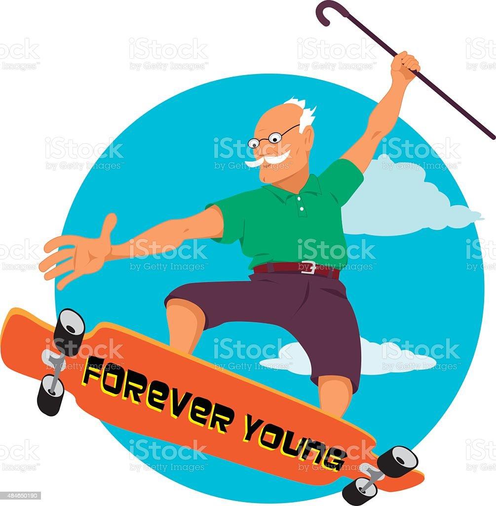 Granddad skater vector art illustration
