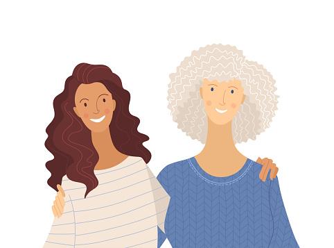 Granddaughter and grandma flat vector illustration