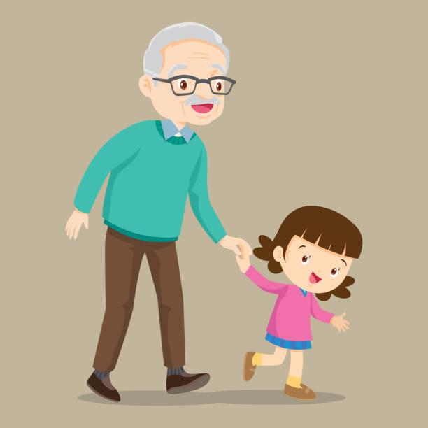 ilustraciones, imágenes clip art, dibujos animados e iconos de stock de nieta caminando con su abuelo - nieta