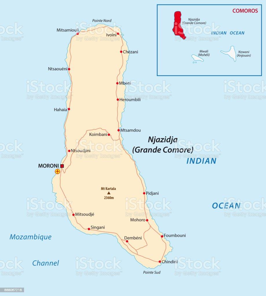 Grande Comore Road Map stock vector art 888067218 iStock