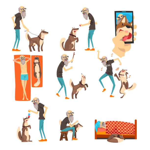 grandfathe and his dog set, lonely senior man and his animal pet in different situations vector illustration on a white background - old man sunglasses stock illustrations, clip art, cartoons, & icons